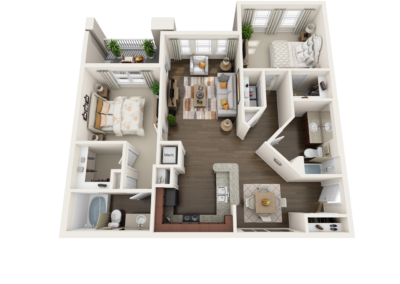 3D Floor Plans overhead top apartment