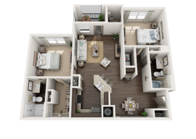 3D Floor Plans apartment 2 overhead