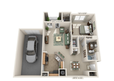 3D Floor Plans over head 3
