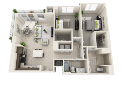 3D Floor Plans over head