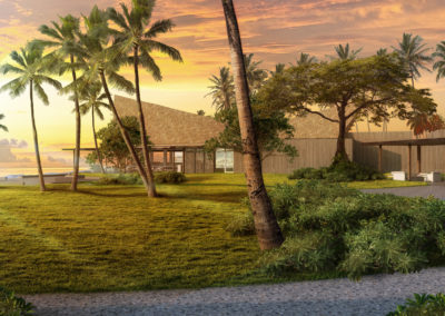 Resort Exterior 3D Rendering View 1 sunset